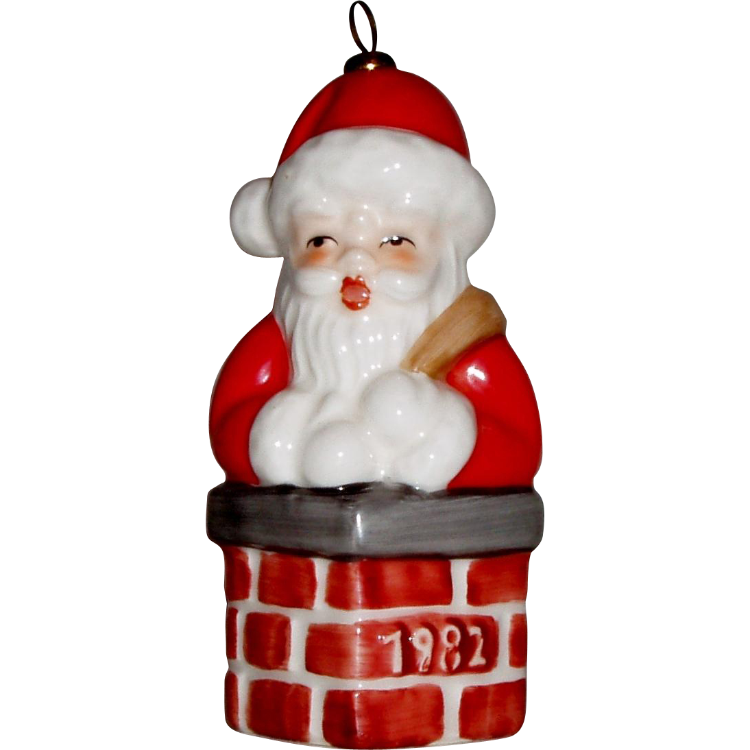 Goebel christmas ornaments - Goebel 1982 Fifth Edition Annual Ornament Santa In Chimney With Original Package