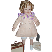 """Shirley Temple """"First Vacation"""" Porcelain Doll ~ Danbury Mint ~ 17"""" ~ Complete with Original Box"""