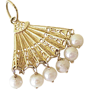 Big Vintage Charm / Pendant  Hand FAN 14K Gold & Cultured Pearl circa 1950's