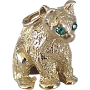 Sitting Cat Jeweled Charm Three-Dimensional 14K Gold Circa 1950-60's