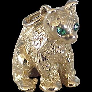 Sitting Cat Jeweled Charm Three-Dimensional 14K Gold Circa 1950-60's