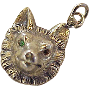 Victorian Era Fox Charm 14K Gold Faux Emerald Eyes