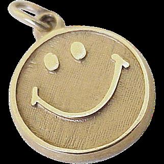 Smiley Face Vintage Charm 10K Gold circa 1960's, The Original Emoji