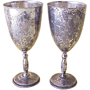 Set of 2 Water or Wine Goblets Sterling Silver Taxco Perlita