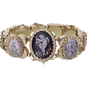 Impressive Victorian Revival Slide Bracelet, 9 Miniature Paintings 14K Gold circa 1940-50's