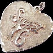 Vintage 14k Gold Heart Charm ~ Sweet 16 /  Sixteen  circa 1950's