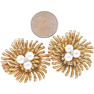 Pair of Vintage Brooches 18K Gold Cultured Pearl & Diamond 38.7 Grams