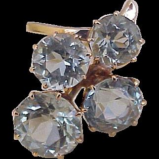 Aquamarine Ring 9.10 Carats Total 14K Gold Circa 1950's