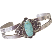Native American Crafted Cuff Bracelet Sterling Silver & Turquoise circa 1960's