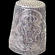 Vintage Souvenir Thimble 800 Silver, Royal Coat of Arms