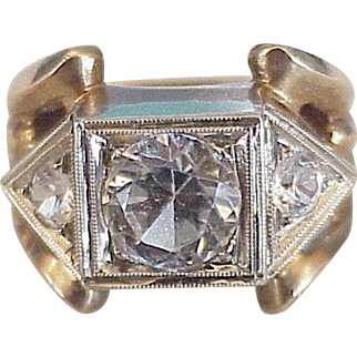 Retro Ring White Spinel & White Sapphire 10K White & Rose Gold, 3.48 tgw