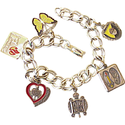 ABWA Vintage 6 Charm Bracelet Sterling Silver 1980's