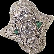 Art Deco Diamond 1.0 ctw Platinum Ring Emerald Accent