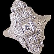 Art Deco Platinum & Diamond Ring .36 ctw VS