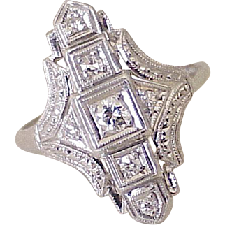 Art Deco Platinum & Diamond Ring .36 ctw VS