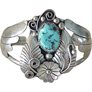 Navajo Handcrafted Cuff Bracelet Sterling Silver & Turquoise, A Edsitty