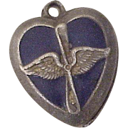 Walter Lampl Puffy Heart Charm U.S. Air Force circa 1940's