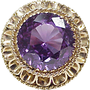 BIG Retro Ring 14k Gold 19.0 Carat Created Alexandrite Solitaire