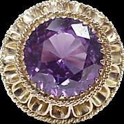BIG Retro Ring 14k Gold 19.0 Carat Created Alexandrite Solitaire