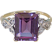 Vintage Ring 4.2 Carat Alexandrite & Diamond 14k Two-Tone Gold