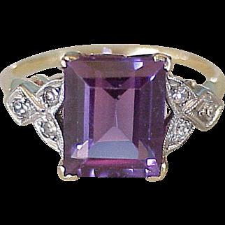 Vintage Ring 4.2 Carat Alexandrite & Diamond 14k Two-Tone Gold