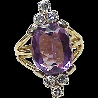 Vintage Gemstone Ring 14K Gold Amethyst & Diamond, 5.80 ctw