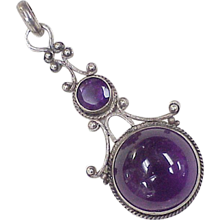 Victorian Era Pendant Hand Wrought Sterling Silver & Amethyst 12.75 ctw