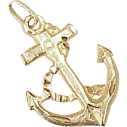 Vintage Nautical Anchor Charm 14K Gold, circa 1980's
