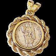 Vintage Angel Silver Coin in 14K Gold Pendant, Sachiel / Thursday