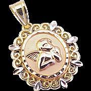 Guardian Angel / Prayer Charm / Pendant 14K Gold, Tri-Color circa 1980's