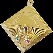 Big Jeweled Vintage Anniversary Charm 14k Gold circa 1968