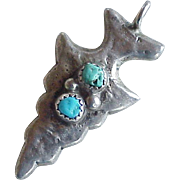 Native American Crafted Arrowhead Pendant Sterling Silver & Turquoise