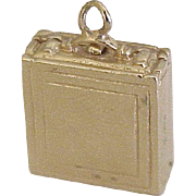 Vintage Opening Attache Case Charm 14K Gold Three Dimensional