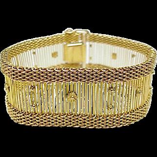 Vintage Wide Bracelet Bar & Mesh Design 36 GRAM 10k Yellow Gold