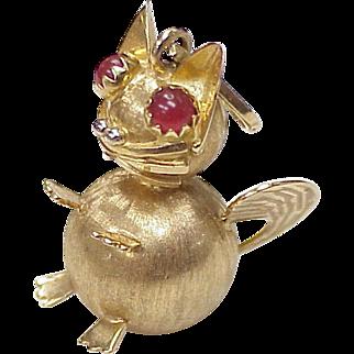 Big Jeweled Fat CAT Charm 18K Gold & Carnelian circa 1960's