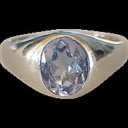 Vintage Gents Reverse Color Change Blue Zircon Ring 10K White Gold Circa 1960's