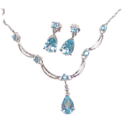 Blue Topaz Necklace & Earring Set 10K White Gold Diamond Accent