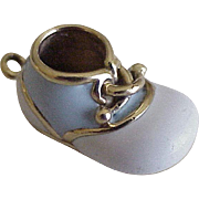 Vintage Enameled Baby Shoe Charm 18K Gold Three Dimensional
