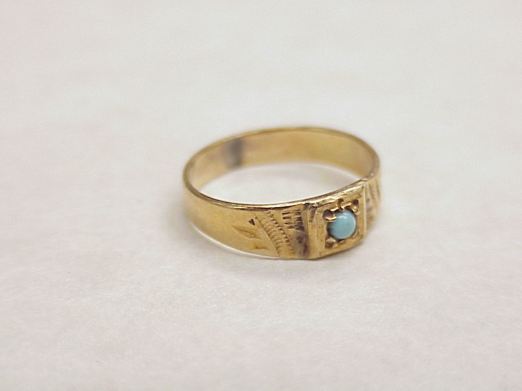 Vintage 18k Gold Baby Ring With Persian Turquoise Circa