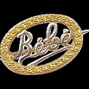 Vintage French Bébé / Baby Brooch  800 Gold circa 1940's