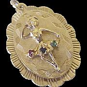 Big Jeweled Vintage Ballerina / Ballet Charm 14k Gold, circa 1960's