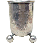 Norwegian Ball Foot Christening Cup, Hand Engraved, Monogram D