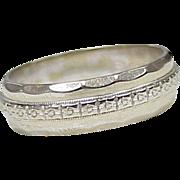 Vintage Floral Wedding Band / Ring 18k White Gold circa 1940's, size 6-1/2