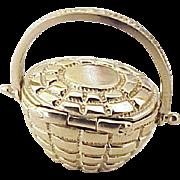 Vintage Moving Nantucket Basket Charm 14K Gold Three Dimensional circa 1970's