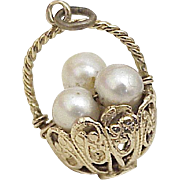 "Vintage Easter Basket Charm Cultured Pearl ""Eggs"" 14k Gold circa 1950's"