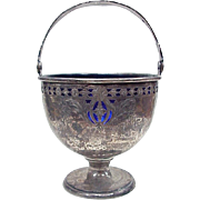 Sterling Silver Small Footed Basket With Cobalt Glass Liner