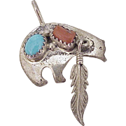 Native American Crafted BEAR Totem Pendant Sterling Silver, Turquoise & Coral circa 1970's
