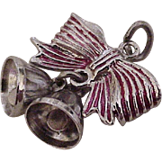 Vintage Moving Holiday Bell Charm Sterling Silver Red Enamel Accent circa 1950's