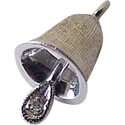 Vintage Moving Bell Charm 14K White Gold Diamond Accent