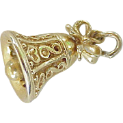 Moving Bell With Bow Charm Filigree Three Dimensional 14K Gold